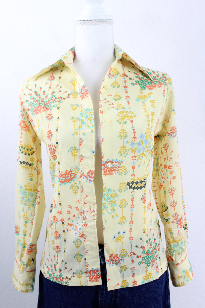 Vintage Floral Yellow Blouse (S) - Vintage & Rags Online