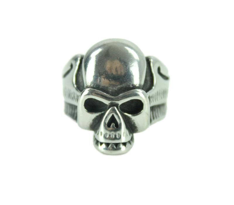 Angel Skull Stainless Steel Ring - Vintage & Rags
