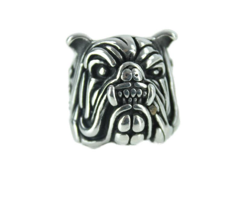 Bulldog Stainless Steel Ring - Vintage & Rags Online