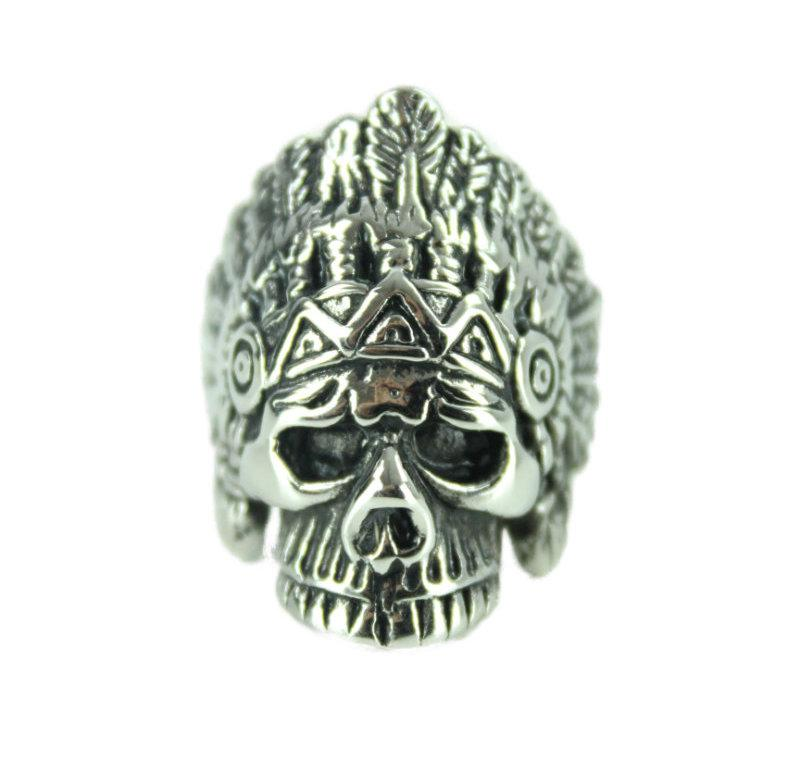 Indian Skull R Stainless Steel Ring - Vintage & Rags