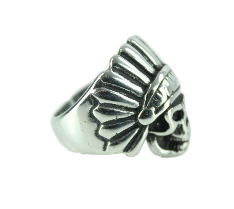 Indian Skull Stainless Steel Ring - Vintage & Rags Online