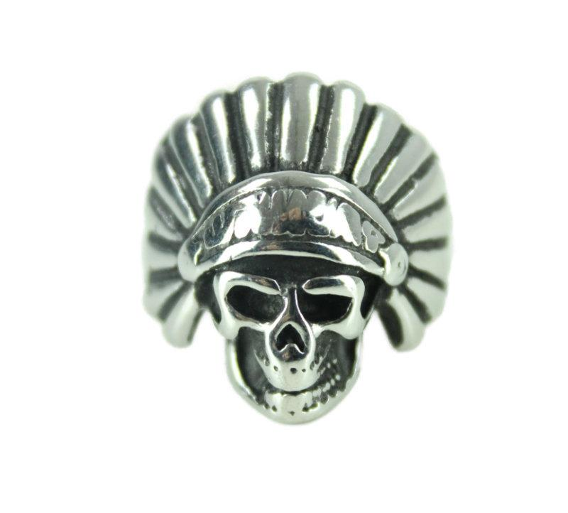 Indian Skull Stainless Steel Ring - Vintage & Rags