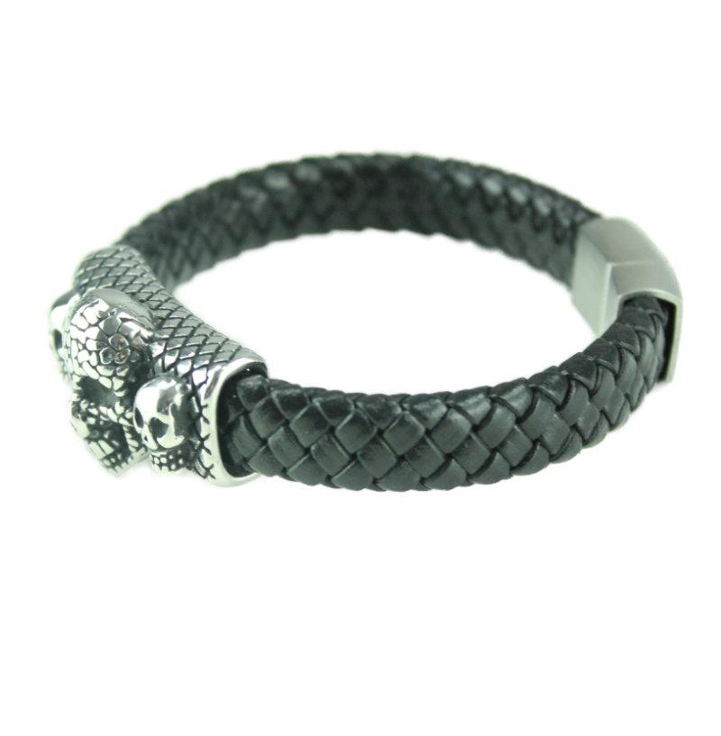 Leather Skulls Bracelet - Vintage & Rags