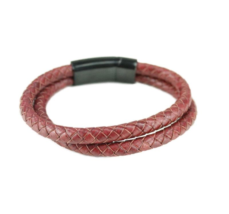 Red Leather Bracelet - Vintage & Rags