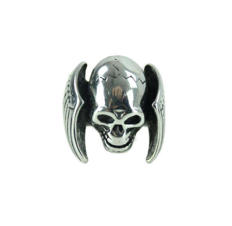 Skull x Wings Stainless Steel Ring - Vintage & Rags Online
