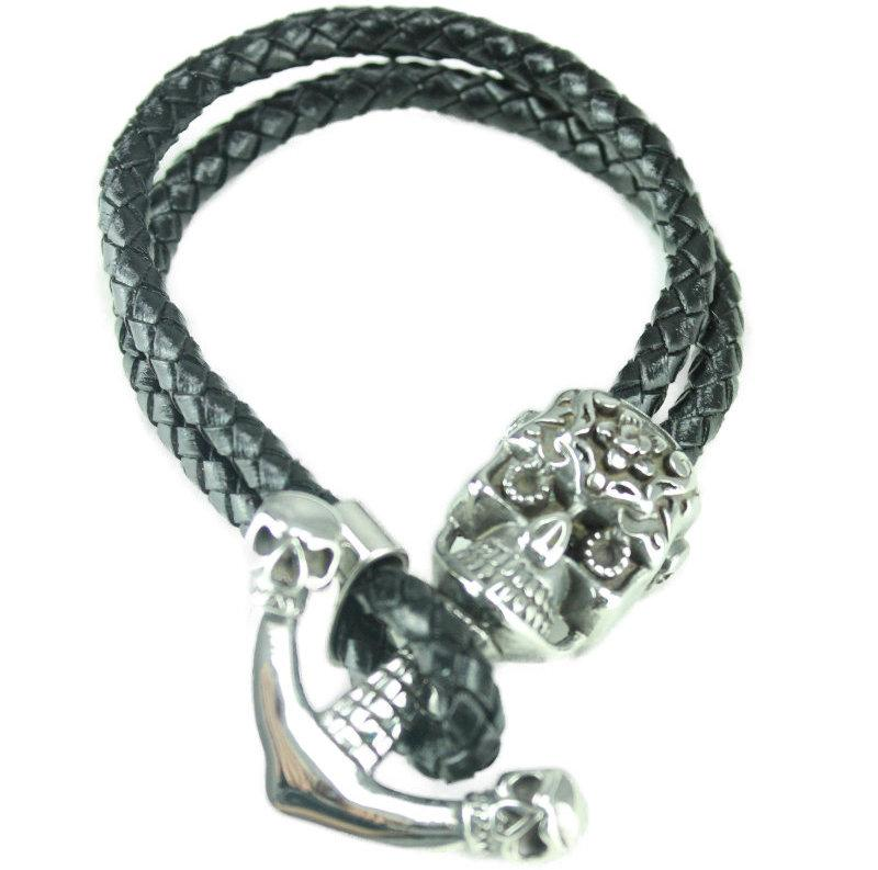 Skulls Leather Bracelet - Vintage & Rags