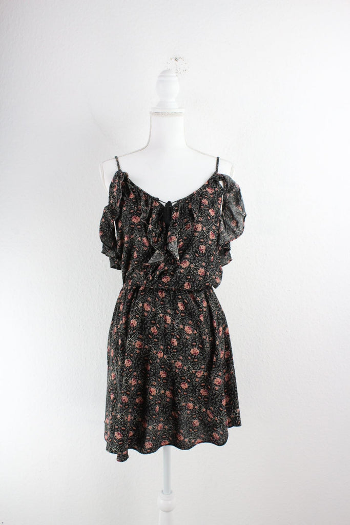 Vintage Black Flower Dress (S) Vintage & Rags