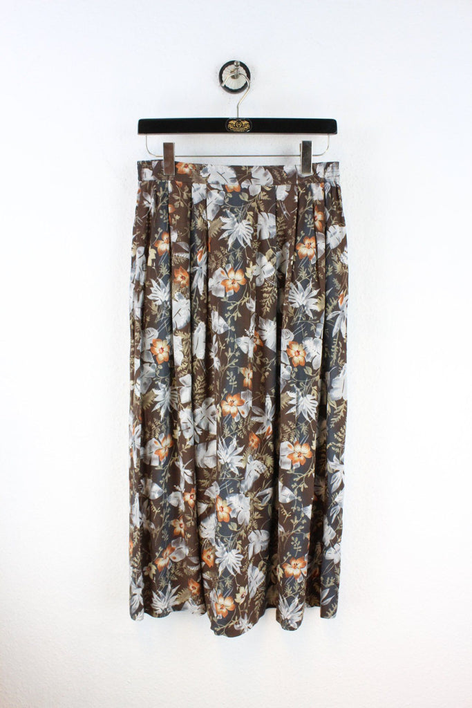 Vintage Brown Flower Skirt (M) Vintage & Rags