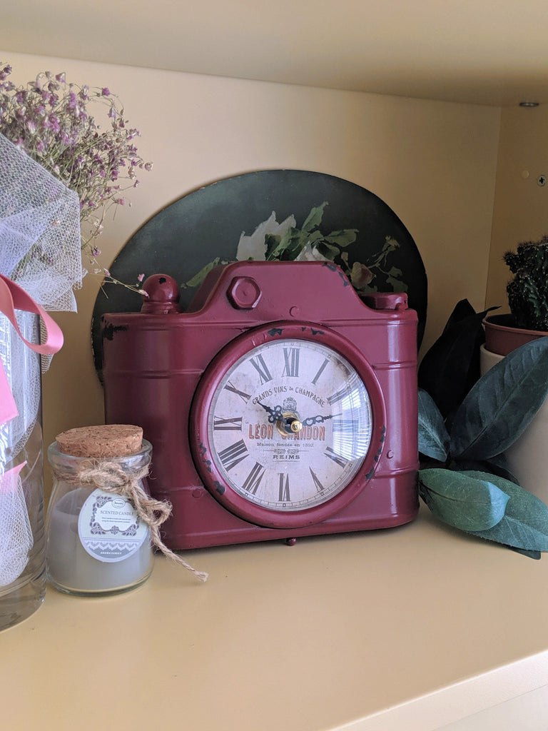 Vintage Camera Clock Red - Vintage & Rags