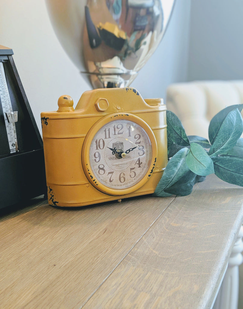 Vintage Camera Clock Yellow - Vintage & Rags