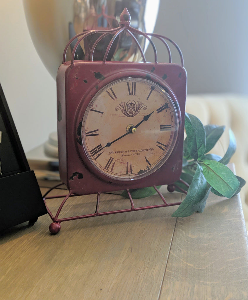 Vintage Desk Clock Red - Vintage & Rags