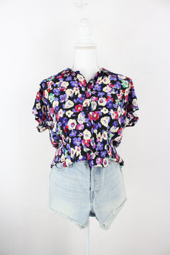 Vintage Purple Flower Blouse (M) Vintage & Rags