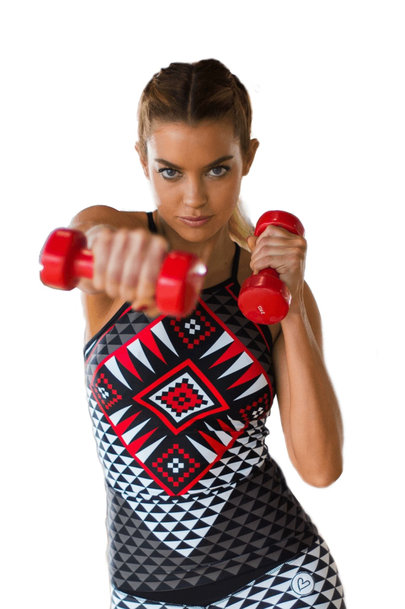 Aztec workout shirt with inner top - BarbellPrincessUsa