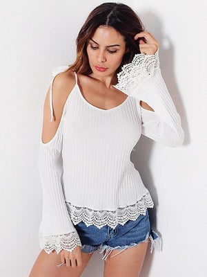 White Cold Shoulder Tie Flared Sleeve Ribbed Blouse