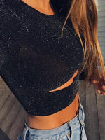 Black Cut Out Front Lurex Yarn Long Sleeve Women Crop Top