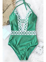 Green Halter Plunge Open Back One-piece Swimsuit