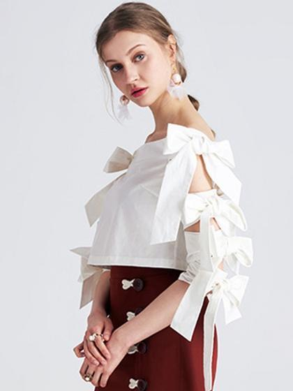 White Bardot Bow Tie Sleeve Crop Top