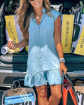 Button Ruffle Hem Denim Dress(Buy 2 Get Freeshipping)