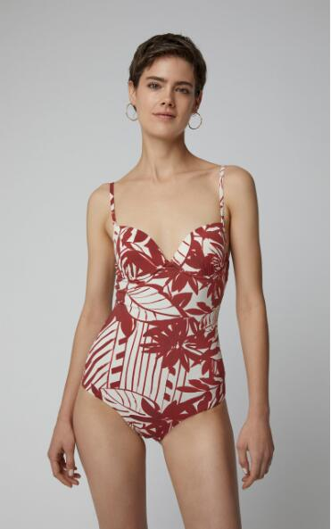 Red V-neck Floral Print One-Piece Swimsuit