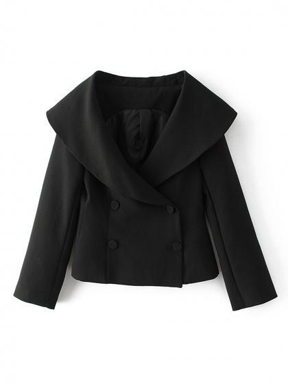 Black Lapel Single Breasted Slim Cropped Blazer