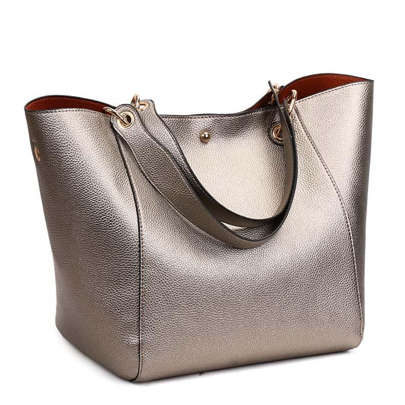 Leather Tote Shoulder Bags With Removable Inner Bag