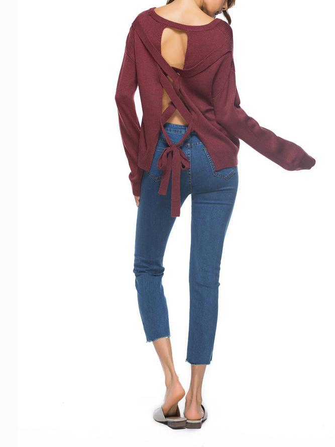Burgundy Strap Cross Back Long Sleeve Knit Sweater
