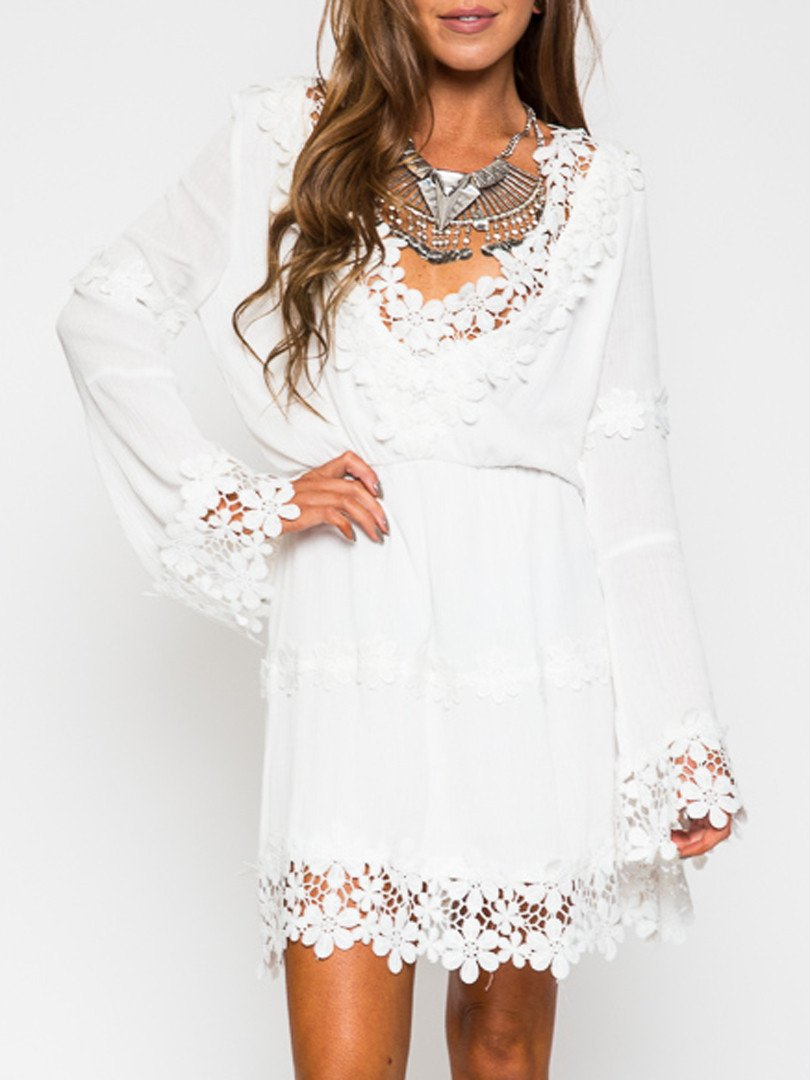 White V-neck Applique Trims Flare Sleeve Dress - MYNYstyle - 1