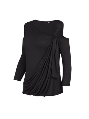 Black Cold Shoulder Ruched Front 3/4 Sleeve T-shirt