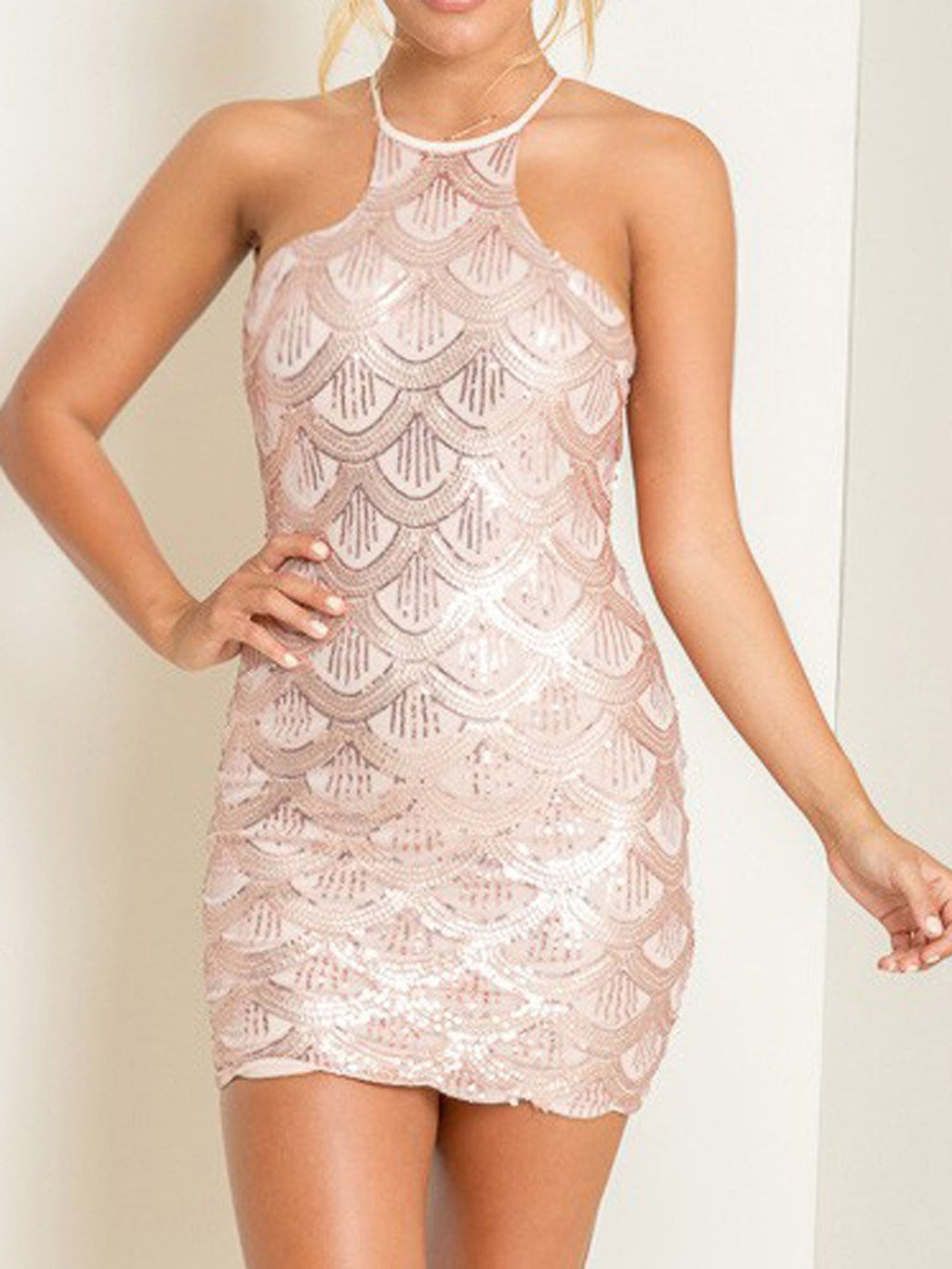 Pink Halter Sequin Scale Pattern Sheer Insert Bodycon Dress - MYNYstyle - 1