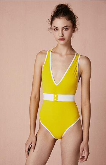 Yellow V-neck Cross Strap Back One-Piece Swimsuit