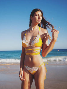 Yellow Lace Panel Open Back Bikini Set