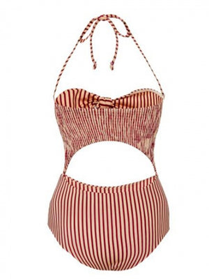 Pink Stripe Halter One-piece Swimsuit