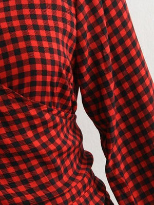 Red Plaid V-neck Tie Waist Long Sleeve Blouse