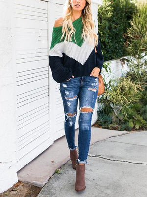 Green Contrast Long Sleeve Chic Women Knit Sweater