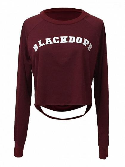 Burgundy Letter Print Ripped Back Long Sleeve Cropped T-shirt