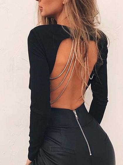 Black Chain Harness Back Long Sleeve Crop Top