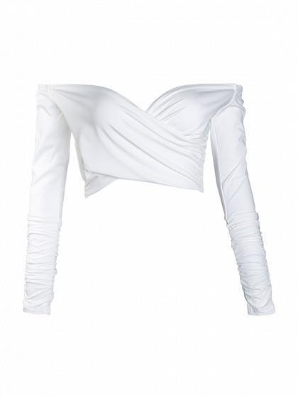 White Off Shoulder Wrap Long Sleeve Crop Top