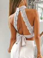 White High Neck Keyhole Front Lace Trim Cut Out Back Bralette Crop Top
