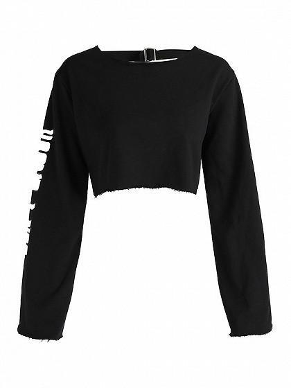 Black Letter Print Flare Sleeve Cut Out Back Cropped Sweatshirt