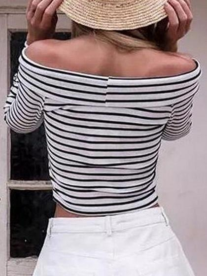White Stripe Off Shoulder Cross Front Long Sleeve Cropped T-shirt