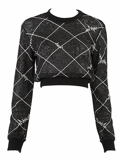 Black Foil Argyle Print Long Sleeve Crop Top
