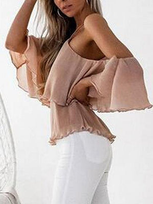 Pink Cold Shoulder Halter Open Back Layered Chiffon Blouse