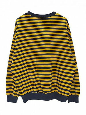 Yellow Stripe Drop Shoulder Long Sleeve Sweatshirt