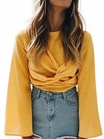 Yellow Twist Front Keyhole Back Bell Sleeve Top