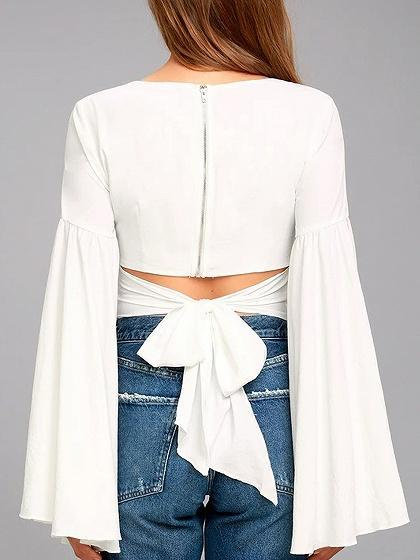 White V-neck Cut Out Tie Back Flared Sleeve Crop Top