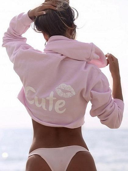 Pink Lip And Letter Print Cropped Hoodie