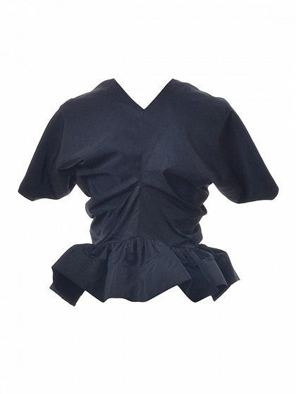 Black Ruched Cape Sleeve Ruffle Hem Zip Front Top