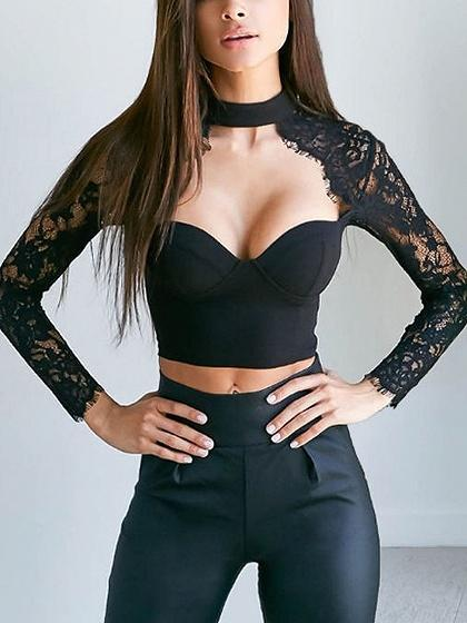 Black High Neck Sweetheart Sheer Lace Sleeve Crop Top