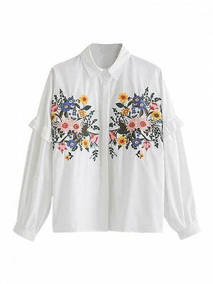 White Embroidery Floral Frill Trim Long Sleeve Shirt