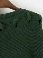 Green Cut Out Long Sleeve Knit Sweater